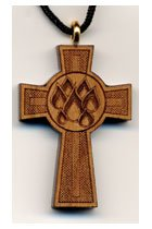 Confirmation Seven Flames Wooden Cross
