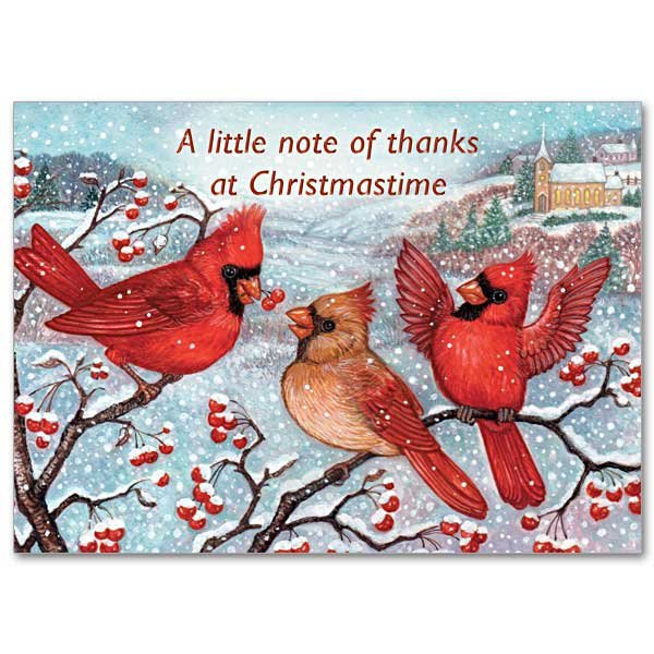 A Little Note of Thanks at Christmastime - Christmas Thank you note pack 12