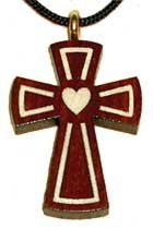 Heart Inlay Bloodwood Wooden Cross