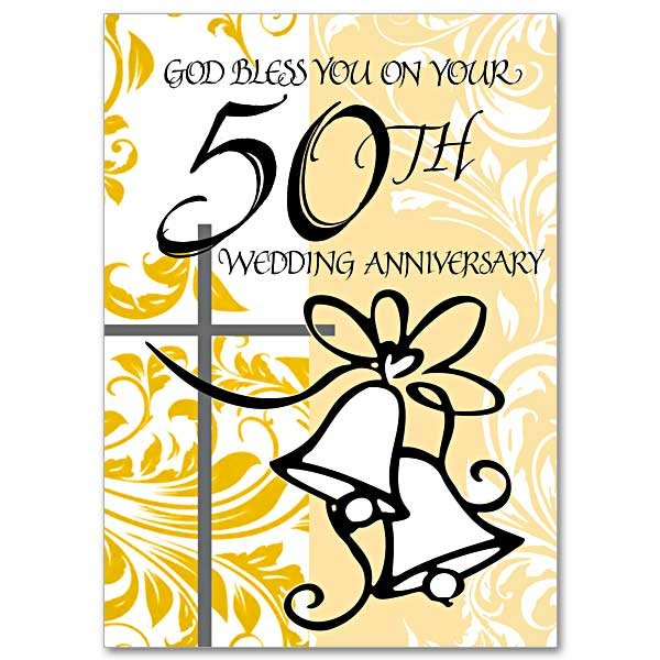 God Bless You on Your 50th Wedding Anniversary - pack of 5 cards