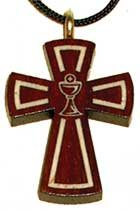 Eucharist Chalice Inlay Bloodwood Wooden Cross