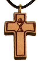Eucharist Communion Chalice Engraved Wooden Cross