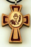 Communion Grapes & Wheat medallion wooden cross