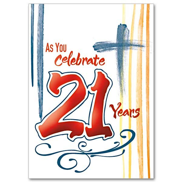 As You Celebrate 21 Years- 21st Birthday Card pack of 5