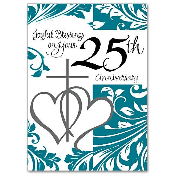 Joyful Blessings on Your 25th Anniversary- 25th Wedding anniversary Card pack of 5